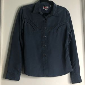 Vintage blue grey country style button down